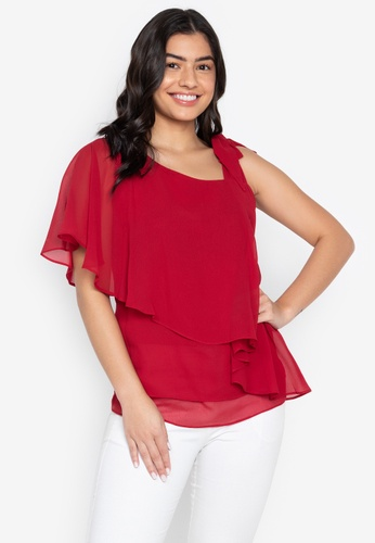 CIGNAL red One Shoulder Ribbon Blouse 85DC8AABAA289AGS_1