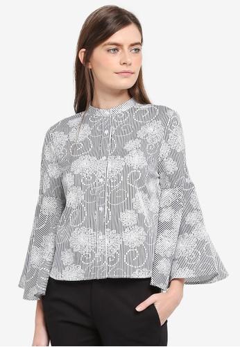 Zalia black Flare Sleeve Crop Shirt 952C5AA46AFF8AGS_1