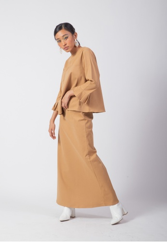 SUEKA SUEKA Feisty A-Line Kurung Set in Camel Brown from SUEKA SUEKA in Brown