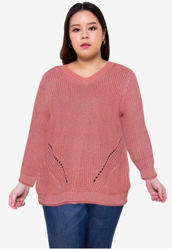 Only CARMAKOMA pink Plus Size Rena Life Long Sleeve V Neck Pullover E2860AA48236BAGS_1