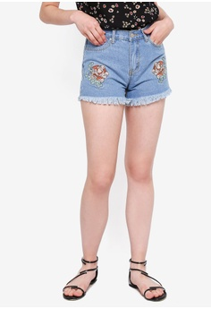 e304875774412 Something Borrowed blue Floral Embroidered Denim Shorts 5D4D0AA0AA2612GS 1