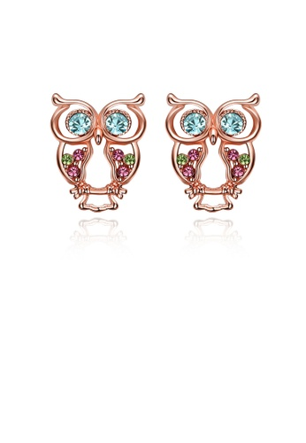 Glamorousky blue Fashion Cute Plated Rose Gold Owl Stud Earrings with Colorful Austrian Element Crystals 1124CAC1B56FCCGS_1