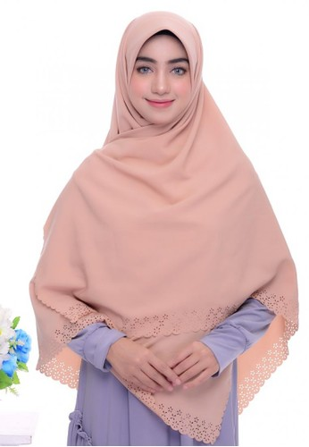 First Hijab brown Rania Square Hijab In Milk Cream 357F4AAAB6CE7DGS_1