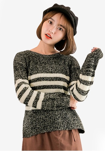 Tokichoi black Thick Striped Knitted Sweater 27C9BAA7478A39GS_1