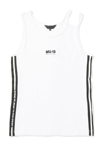 """MUSIUM DIV white """"MU-13"""" embroidered side tape tank top 8BA79AA2DE9BD6GS_1"""
