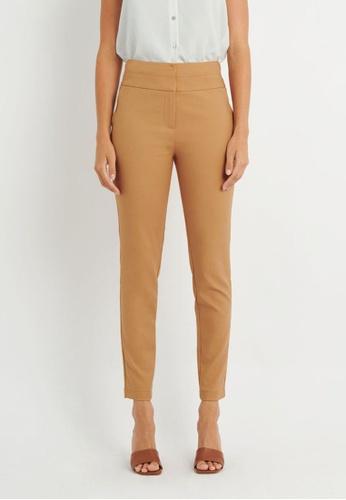 FORCAST brown FORCAST Myah Double Waistband Pants 7468CAAAFAB845GS_1