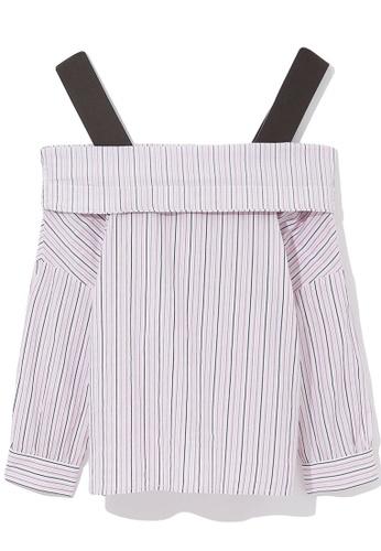 b+ab pink Off shoulder stripe blouse C6957AA2A3E068GS_1