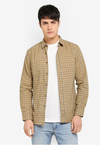 ZALORA yellow Checked Long Sleeve Shirt 566D8AA3FFCEC7GS_1