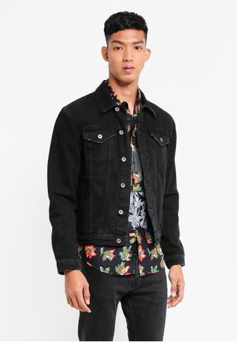 Topman black Black Denim Jacket C3673AA2C8A5FEGS_1
