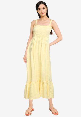 Cotton On yellow Woven Sophia Shirred Bodice Midi Dress A2264AA363A511GS_1