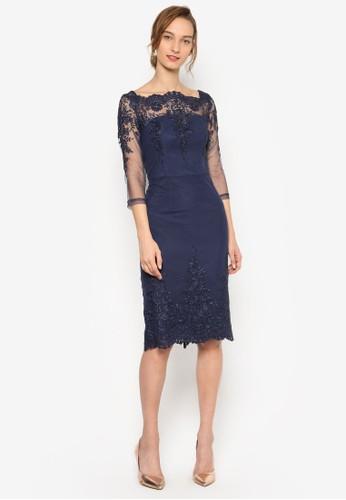Cesprit女裝hi Chi Ayda 花紋蕾絲飾連身裙, 服飾, 服飾