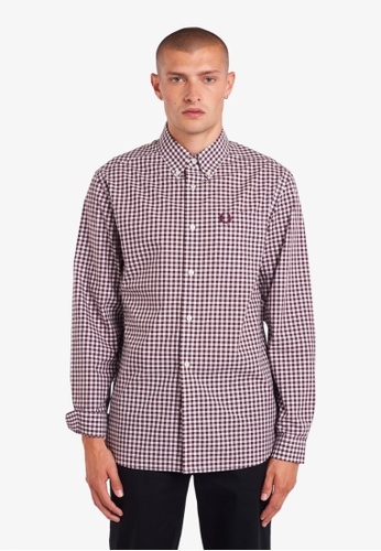 Fred Perry red M9500 - GINGHAM LONG SLEEVE SHIRT - (MAHOGANY) 6DC78AAD12CA91GS_1