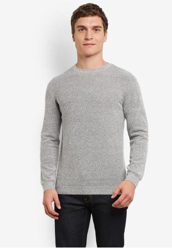 Burton Menswear London 灰色 淺灰色 質感 毛衣 BU964AA0S2B3MY_1
