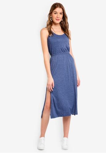 ZALORA BASICS blue Basic Drawstring Midi Dress 46F01AAE97CE15GS_1