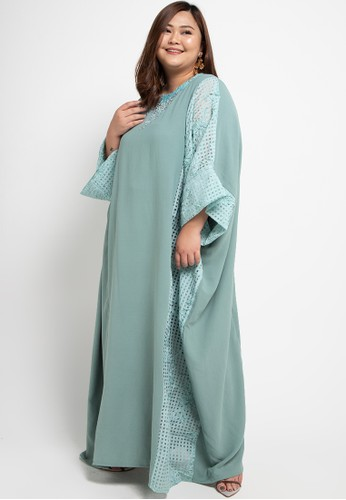 LUIRE by Raden Sirait green Plus Size MS Kaftan Cetar CLO 18CBFAA0012C88GS_1