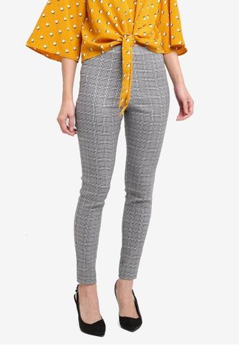 Miss Selfridge grey Checkered Bengline Trousers MI665AA0T099MY_1