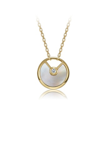 Glamorousky white 925 Sterling Silver Plated Gold Simple Round Pendant with Mother Of Pearl and Necklace D5220AC6487A0CGS_1