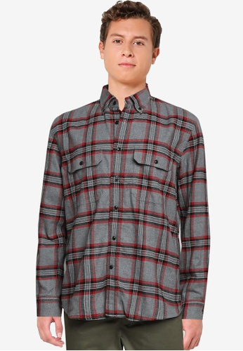 Banana Republic red Untucked Standard-Fit Flannel Shirt 284CEAAE23BCDBGS_1