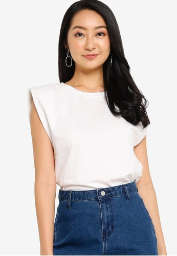 ZALORA BASICS white Shoulder Pad T-Shirt 52C29AACDA4887GS_1
