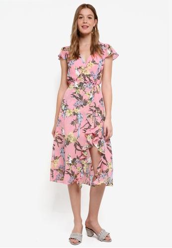River Island pink Lilly Waisted Midi Dress 4A717AA80D1CC1GS_1
