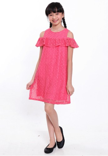 EXIT GIRL pink Fabrella Pink Brokat Dress E2611KA077EA6AGS_1