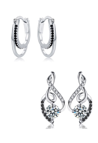A-Excellence white Premium Elegant White Silver Earring Set EC011AC48F4D66GS_1
