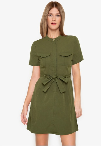 ZALORA BASICS green Tie Front Utility Dress 18EDDAAE062050GS_1