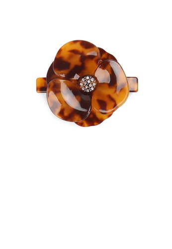 Glamorousky white Fashion and Elegant Red Tortoiseshell Flower Large Hair Slide with Cubic Zirconia F707BAC48BD905GS_1