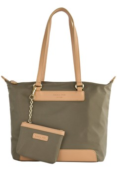 PRM Nylon Leather Trims Tote Bag