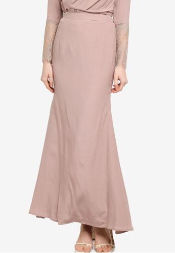 Lubna brown Matte Satin Mermaid Skirt 12626AA9705ED7GS_1