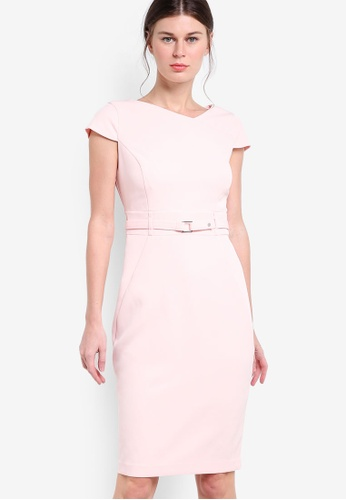 Dorothy Perkins pink Blush Belted Dress DO816AA04CBVMY_1