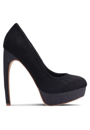 Nose black Suede Glitter Platform Heels 74D15SH4779CEBGS_1