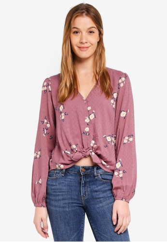 Abercrombie & Fitch purple Tie Front Long Sleeve Blouse 44252AA4979FE4GS_1