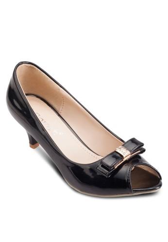 蝴蝶結露趾中高跟鞋、 女鞋、 鞋Mimosa蝴蝶結露趾中高跟鞋最新折價