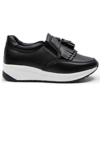 Crystal Korea Fashion 黑色 韓國製百搭流蘇內增高休閒鞋 B9F12SH4202C45GS_1