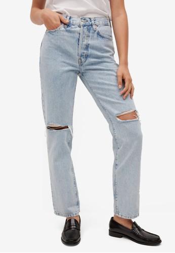 Mango blue Decorative Rips Relaxed Jeans 0E15DAA7B567CDGS_1