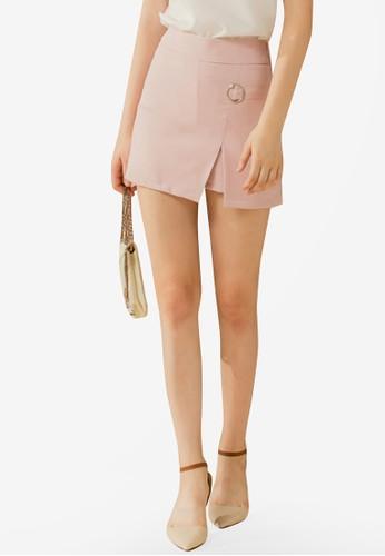 Eyescream pink High Slit Mini Skirt ADC9CAA11EF819GS_1
