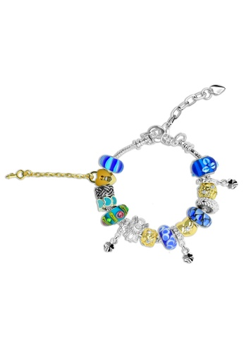 Her Jewellery blue and silver Swarovski® Crystals - Roman Charm Bracelet (Blue)(18K White Gold Plated) Her Jewellery HE581AC0RAJYMY_1