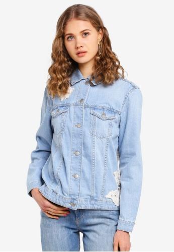 e93cd666923 Buy Dorothy Perkins Bleach Lace Applique Denim Jacket