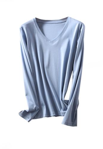 Twenty Eight Shoes blue VANSA V-neck Mercerized Cotton Long-sleeved T-Shirt VCW-Ts0001V 3ED56AAB95B57FGS_1