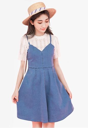 Eyescream blue Faux 2-Piece Denim Dress 327FDAAB521F51GS_1