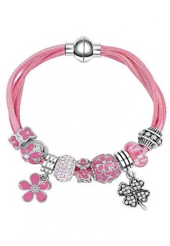 LOVENGIFTS pink and silver LOVENGIFTS Be Merry Beaded Bracelet (Baby Pink) LO429AC38HBLMY_1