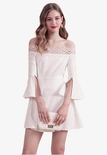 Eyescream white Slit Sleeves Lace Trim Dress 7617FAAB706C96GS_1