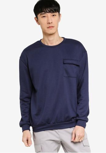 ZALORA BASICS navy Pocket Detail Sweatshirt 43884AA03A0AE4GS_1