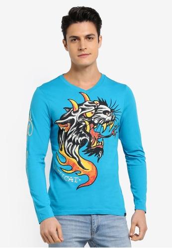 Ed Hardy blue Wolf Printed Long Sleeve Tee 67231AAE349DBAGS_1