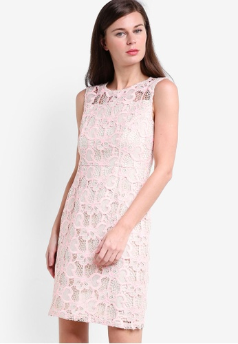 Dorothy Perkins pink Petite Peach Lace Shift Dress DO816AA01CBYMY_1