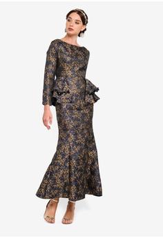 e1bf76c3b78 Zalia blue and gold Jacquard Peplum Mermaid Dress 2CD45AAD5F288FGS 1