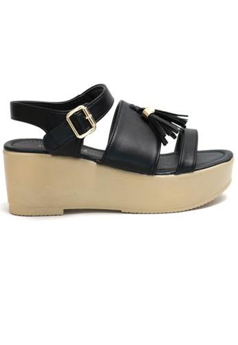 Crystal Korea Fashion black Korean Tasseled Summer Sandals 5C91ASHAA60880GS_1