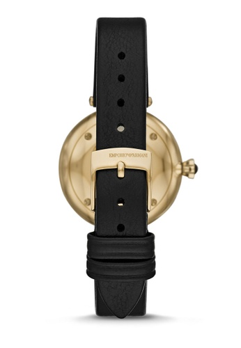 c700069d59 Emporio Armani Women's Two-Hand Black Leather Watch AR11200