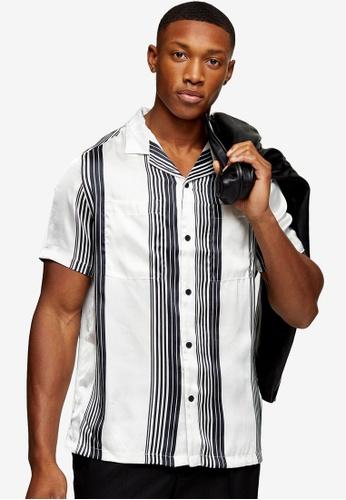 Topman black Satin Stripe Slim Shirt 1641FAA06980A4GS_1